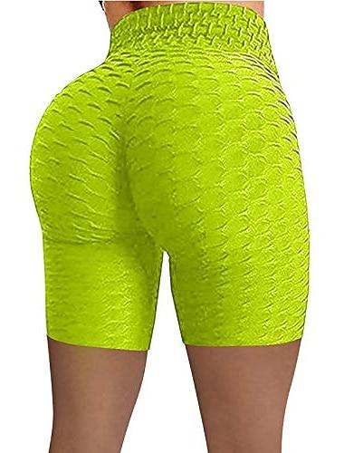 Womens Yoga Pants Women\'s Bubble Hip Butt Lifting Anti Cellulite Legging High Waist Workout Tummy Control Yoga Shorts Green