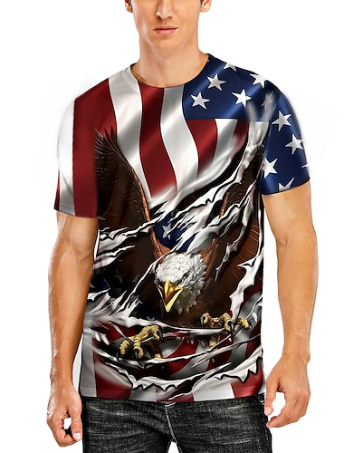 Men\'s T shirt 3D Print Graphic Animal Plus Size Print Short Sleeve Daily Tops Basic Casual Black Red Grey