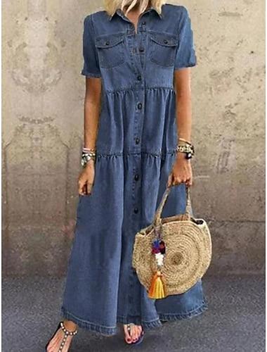 Γυναικεία Φορέματα τζιν Μακρύ φόρεμα Θαλασσί Μπλε Απαλό Κοντομάνικο Συμπαγές Χρώμα Πεπαλαιωμένο Στυλ Κλασσικό Ρετρό Άνοιξη Καλοκαίρι Κολάρο Πουκαμίσου Οξφόρδης Ρετρό / Βίντατζ Κλασσικό & Διαχρονικό