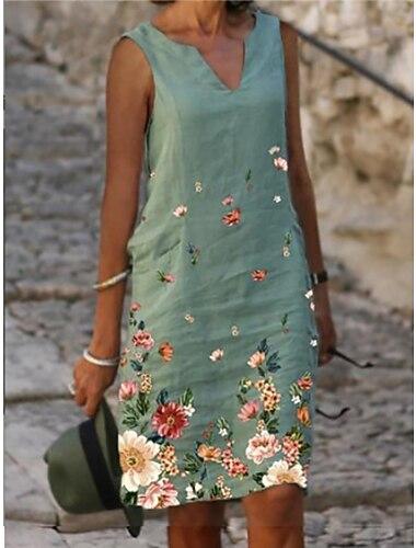 Γυναικεία Φόρεμα ριχτό Φόρεμα μέχρι το γόνατο Θαλασσί Πράσινο του τριφυλλιού Αμάνικο Φλοράλ Στάμπα Άνοιξη Καλοκαίρι Λαιμόκοψη V Κομψό Καθημερινό Φαρδιά 2021 M L XL XXL 3XL 4XL