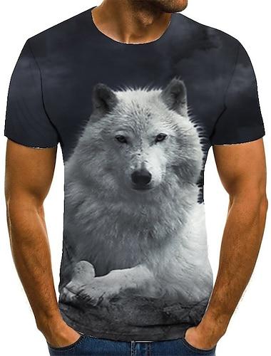 T-shirt Homme 3D effet Animal Normal 1 pc Impression 3D Imprime Manches Courtes Decontracte Quotidien Ample Polyester Simple Mode Col Rond