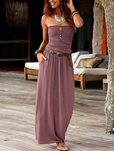 Γυναικεία Φόρεμα σε ευθεία γραμμή Μακρύ φόρεμα Βυσσινί Κρασί Πράσινο Χακί Dusty Rose Πράσινο του τριφυλλιού Βαθυγάλαζο Μαύρο Σκούρο γκρι Ρουμπίνι Βαθυγάλαζο Αμάνικο Στάμπα Καλοκαίρι Στράπλες Επίσημο