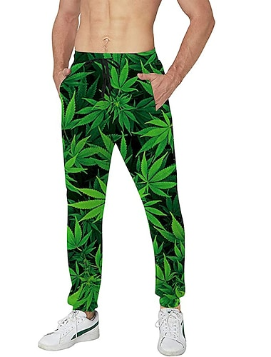 בגדי ריקוד גברים יום יומי בגדי ספורט ומנוחה יומי ספורט רָץ לְהַנָאָתוֹ מכנסיים מכנסי טרנינג מכנסיים צמחים באורך מלא שרוך כיס הדפסת תלת מימד שחור ירוק