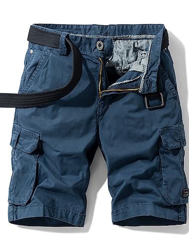 Homme Decontracte / Sport Shorts Cargo Chino Pantalon cargo Mince Pantalon Mosaique Couleur Pleine Armee verte Kaki Noir Bleu de minuit