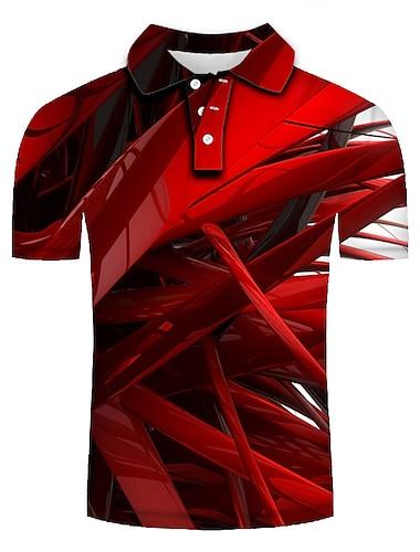 בגדי ריקוד גברים חולצת גולף חולצת טניס הדפסת תלת מימד גיאומטרי הדפסת תלת מימד דפוס שרוולים קצרים קזו\'אל צמרות מותאם אישית יום יומי אופנתי אודם