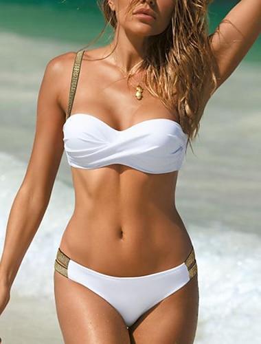 Női Bikini Fürdőruha Csillogás Falevél Bor Fehér Fekete Rubin Világoszöld Fürdőruha Kosaras Fürdőruhák Szexi / Párnás melltartó