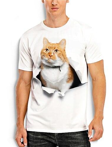 Tee T-shirt Chemise Homme 3D effet Chat Imprimes Photos Animal Imprime Manches Courtes Quotidien Vacances Standard Polyester Simple Designer Grand et grand Col Rond / Ete