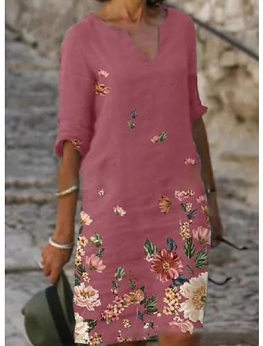Γυναικεία Φόρεμα πουκαμίσα Φόρεμα μέχρι το γόνατο Ανθισμένο Ροζ Γκρίζο Μαύρο Μισό μανίκι Φλοράλ Στάμπα Φθινόπωρο Άνοιξη Λαιμόκοψη V Κομψό Φαρδιά 2021 Τ M L XL XXL 3XL