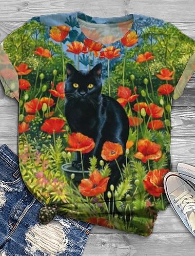 여성용 플러스 크기 탑스 T 셔츠 고양이 그래픽 동물 프린트 짧은 소매 크루 넥 클로버 큰 사이즈 XL XXL 3XL 4XL 5XL / 플러스 사이즈 / 홀리데이 / 플러스 사이즈