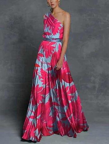 Γυναικεία Φόρεμα σε ευθεία γραμμή Μακρύ φόρεμα Πράσινο του τριφυλλιού Ρουμπίνι Αμάνικο Φλοράλ Στάμπα Φούντα Στάμπα Άνοιξη Καλοκαίρι Ένας Ώμος Καθημερινό Σέξι Αργίες Λεπτό 2021 Τ M L XL XXL