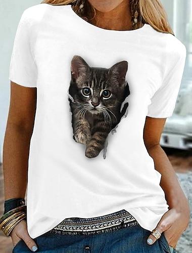 Dámské Tričko Kočka Grafika 3D Tisk Kulatý Topy 100% bavlna Základní Základní top Bílá Černá