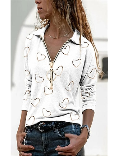 여성용 블라우스 셔츠 심장 긴 소매 지퍼 프린트 V 넥 셔츠 카라 탑스 와인 그레이 화이트
