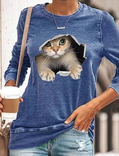 Dámské 3D kočka Tričko Kočka Grafika 3D Dlouhý rukáv Tisk Kulatý Základní Topy Černá Vodní modrá Žlutá