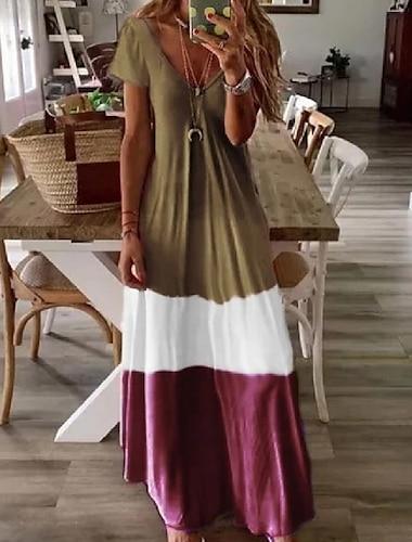 여성용 스윙 드레스 맥시 드레스 푸른 그레이 클로버 라이트 그레이 루비 브라운 짧은 소매 프린트 컬러 블럭 패치 워크 프린트 여름 V 넥 캐쥬얼 루즈핏 2021 S M L XL XXL 3XL