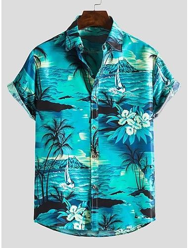 Pánské Košile Další tisky Zebra košile s límečkem Tisk Krátký rukáv Denní Štíhlý Topy Plážový styl Cikánský Límeček s knoflíkem Vodní modrá