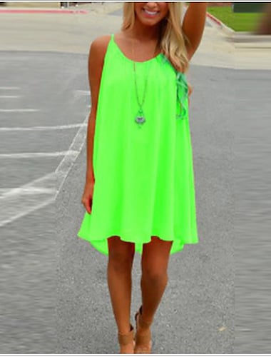 Women\'s Strap Dress Purple Light Green Green Orange White Black Light Blue Sleeveless Red Summer Hot Holiday Beach Loose S M L XL XXL 3XL
