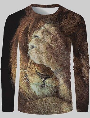 Herre T-shirt 3D-udskrivning Grafisk 3D Løve Trykt mønster Langærmet Daglig Toppe Gade overdrevet 1# 2# Regnbue