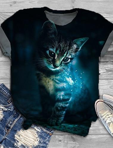 여성용 플러스 크기 탑스 T 셔츠 고양이 그래픽 동물 프린트 짧은 소매 크루 넥 베이직 블랙 큰 사이즈 XL XXL 3XL 4XL 5XL / 플러스 사이즈 / 홀리데이 / 플러스 사이즈