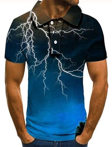 Homens Camisa de golfe Camisa de tenis Impressao 3D Relampago Estampas Abstratas Botao para baixo Manga Curta Rua Blusas Casual Moda Legal Azul / Esportes