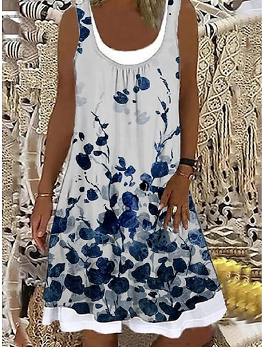 Mujer Vestido de cambio Vestido hasta la Rodilla Blanco Sin Mangas Floral Estampado Primavera Verano Escote Barco Casual Festivos Corte Ancho 2021 S M L XL XXL 3XL