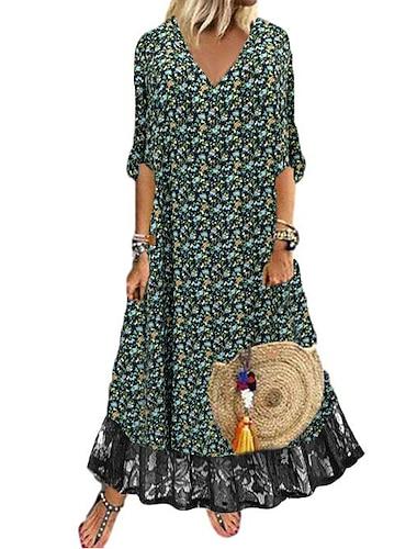 Női Nyári ruha Maxi hosszú ruha Fekete Féhosszú Virágos Színes Csipke Nyomtatott Ősz Tavasz V-alakú Elegáns Alkalmi Szabadság 2021 S M L XL XXL 3XL