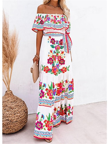 Γυναικεία Φόρεμα ριχτό από τη μέση και κάτω Μακρύ φόρεμα Λευκό Κοντομάνικο Άνθινο / Βοτανικό Καλοκαίρι Ώμοι Έξω Εντυπωσιακό & Δραματικό Αργίες 2021 Τ M L XL XXL XXXL
