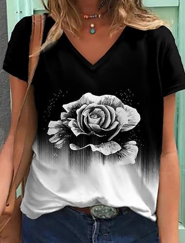 Dámské Květinový motiv Obraz Tričko Květinový Zářící barvy Tisk Do V Základní Topy Černá