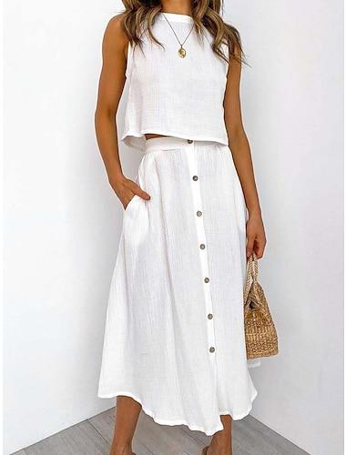 Γυναικεία Φόρεμα σε γραμμή Α Μακρύ φόρεμα Αμάνικο Συμπαγές Χρώμα Άνοιξη Καλοκαίρι Καθημερινό 2021 Τ M L XL