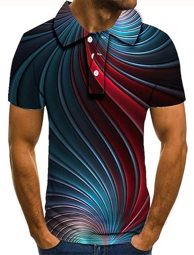 Hombre Camiseta de golf Camiseta de tenis Impresion 3D 3D Estampados Abotonar Manga Corta Calle Tops Casual Moda Fresco Azul Piscina / Deportes