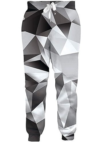 בגדי ריקוד גברים יום יומי בגדי ספורט ומנוחה יומי ספורט רָץ לְהַנָאָתוֹ מכנסיים מכנסי טרנינג מכנסיים גֵאוֹמֶטרִיָה באורך מלא הדפסת תלת מימד שרוך כיס שחור אפור