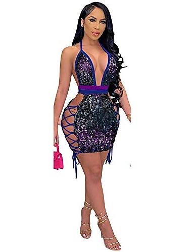 Γυναικεία Φόρεμα με λεπτή τιράντα Μίνι φόρεμα 2 # πράσινο 3 # μπλε 1 # κόκκινο τριαντάφυλλο Αμάνικο Συμπαγές Χρώμα Καλοκαίρι Σέξι 2021 Τ M L XL XXL