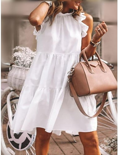 Women\'s A Line Dress Knee Length Dress Gray Green Dusty Blue White Black Sleeveless Solid Color Smocked Ruched Pleated Spring Summer Round Neck Elegant Casual Holiday Going out 2021 S M L XL XXL