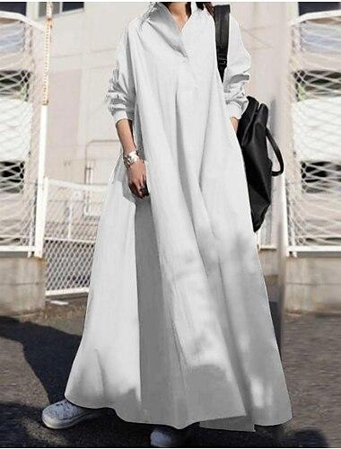 Γυναικεία Φόρεμα ριχτό από τη μέση και κάτω Μακρύ φόρεμα Μακρυμάνικο Συμπαγές Χρώμα Φθινόπωρο Άνοιξη Καθημερινά Φαρδιά 2021 Τ M L XL XXL XXXL 4XL 5XL / Βαμβάκι / Βαμβάκι