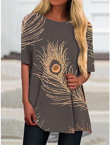 Dámské Tričkové šaty Krátké mini šaty Zlatá Krátký rukáv Květinový Tisk Jaro Léto Kulatý Na běžné nošení 2021 S M L XL XXL 3XL