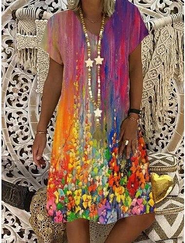 Női Pólóruha Térdig érő ruha Rövid ujjú Batikolt Tavasz Nyár V-alakú Alkalmi Kösd a festéket 2021 S M L XL XXL 3 XL 4 XL 5 XL