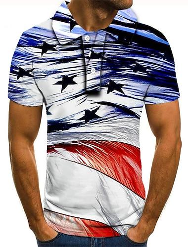 Men\'s Golf Shirt Tennis Shirt 3D Print Graphic Prints Star Button-Down Short Sleeve Street Tops Casual Fashion Cool Blue / Sports