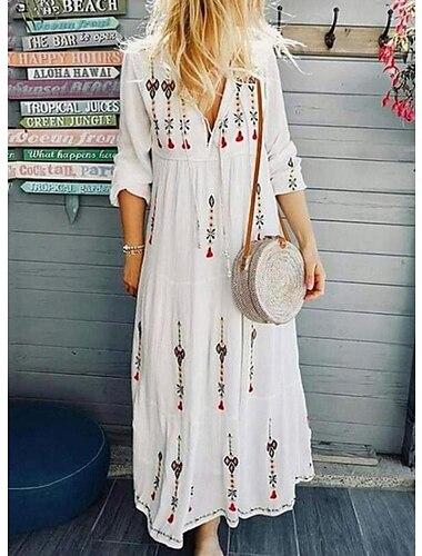 Γυναικεία Φόρεμα ριχτό Μακρύ φόρεμα 3/4 Μήκος Μανικιού Μοτίβο Λουλούδι Στάμπα Άνοιξη Καλοκαίρι Λαιμόκοψη V Καθημερινό Γιορτή Εξόδου 2021 Τ M L XL XXL XXXL
