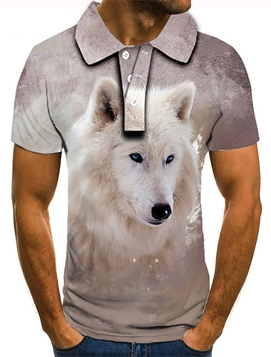 Hombre Camiseta de golf Camiseta de tenis Impresion 3D Estampados Lobo Animal Abotonar Manga Corta Calle Tops Casual Moda Fresco Purpula Claro / Deportes