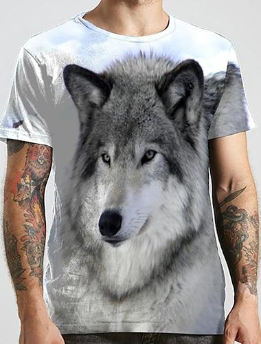 Hombre Unisexo Tee Camiseta Impresion 3D Estampados Lobo Tallas Grandes Estampado Manga Corta Casual Tops Basico De Diseno Grande y alto Gris