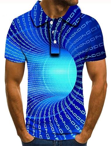 男性用 ゴルフシャツ テニスシャツ 3Dプリント 3D印刷 グラフィック ジオメトリ ボタンダウン 半袖 ストリート トップの カジュアル ファッション クール ブルー / スポーツ