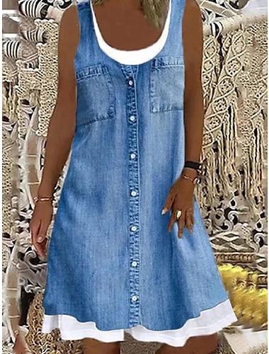 Mujer Vestido de cambio Vestido hasta la Rodilla Sin Mangas Patron Bolsillo Boton Primavera Verano Escote en U Basico Casual Corte Ancho 2021 S M L XL XXL XXXL