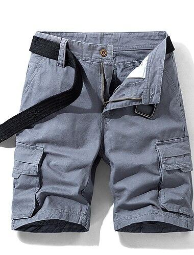 Homme Short Shorts Cargo Short Ample Pantalon Couleur Pleine Armee verte Bleu Gris Kaki Noir