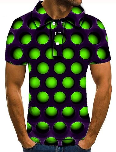 Homens Camisa de golfe Camisa de tenis Impressao 3D Circulo Geometrica Botao para baixo Manga Curta Rua Blusas Casual Moda Legal Verde / Esportes