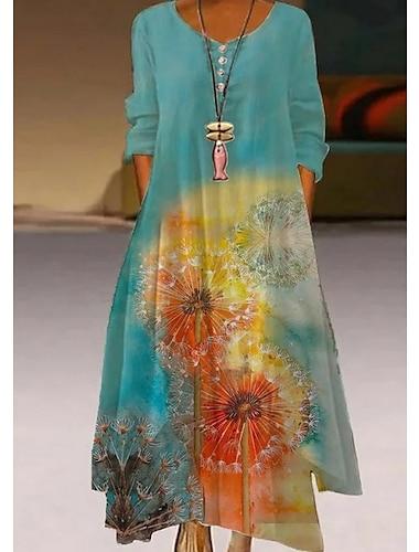 Γυναικεία Φόρεμα σε γραμμή Α Μακρύ φόρεμα Πολύχρωμα_1 Θαλασσί Βυσσινί Πράσινο του τριφυλλιού Βαθυγάλαζο Ουράνιο Τόξο Λευκό Βαθυγάλαζο Μπεζ Μισό μανίκι Δετοβαμένο Φθινόπωρο Καλοκαίρι / Αργίες