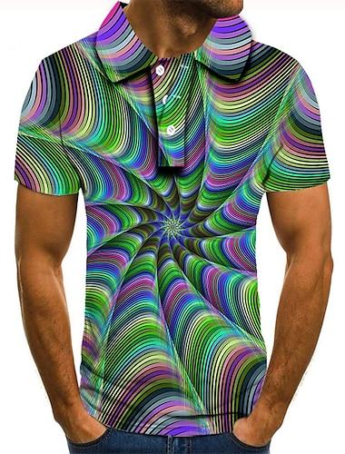 Homens Camisa de golfe Camisa de tenis Impressao 3D 3D impressao Estampas Abstratas Botao para baixo Manga Curta Rua Blusas Casual Moda Legal Arco-iris / Esportes