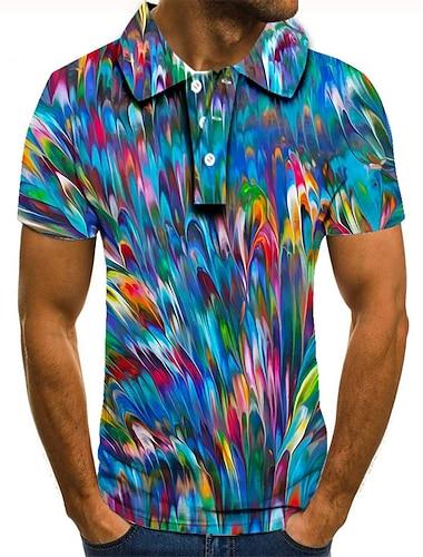 Męskie Koszula golfowa Koszula tenisowa Druk 3D Kolorowy blok Wzory graficzne Przycisk w dół Krótki rękaw Ulica Najfatalniejszy Codzienny Moda Nowoczesne Niebieski / Sport