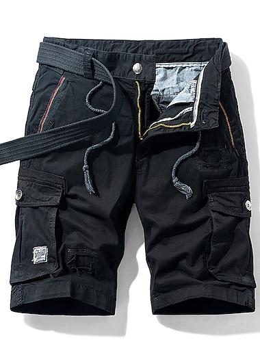 Homme Chino Shorts Cargo Short Pantalon cargo Decontractee du quotidien Pantalon Plein Court Poche Vert Veronese Kaki Noir Gris Fonce / Ete
