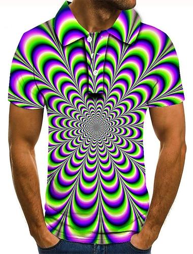 Męskie Koszula golfowa Koszula tenisowa Druk 3D Wzór 3D Geometria Przycisk w dół Krótki rękaw Ulica Najfatalniejszy Codzienny Moda Nowoczesne Fioletowy / Sport