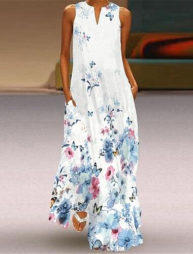 Női Swing ruha Maxi hosszú ruha Ujjatlan Absztrakt Virág Szerelem Zseb Nyomtatott Nyár V-alakú Alkalmi Szüret 2021 S M L XL XXL XXXL 4 XL 5 XL