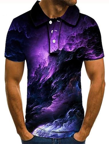 Hombre Camiseta de golf Camiseta de tenis Impresion 3D Estampados Nubes Abotonar Manga Corta Calle Tops Casual Moda Fresco Morado / Deportes